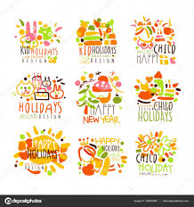 happy kid holiday colorful graphic design template logo series