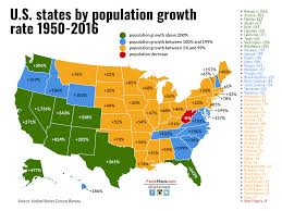 World Map 1950 Us States By Population Growth Rate 1950 2016 Factsmaps
