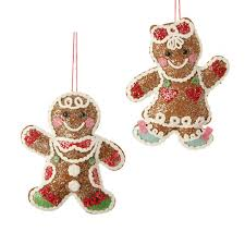 raz plush gingerbread ornaments set of 2 6 5 inches rz3420006