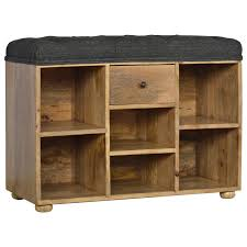 Shoe Shelf Bench by Shoe Storage Bench With Upholstered Black Tweed Seat Global