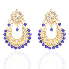 beautiful ear rings beautiful looking kundan heavy designer white and blue pearl