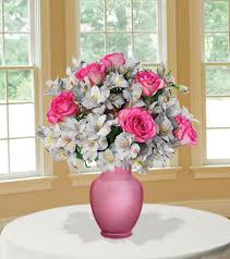 Bouquet Of Flowers In Vase Shimmering Blush With Pink Vase Blooms Today