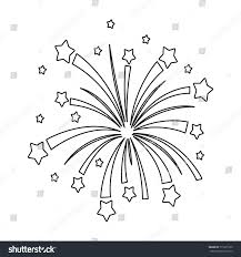 patriotic fireworks icon outline style isolated stock vector