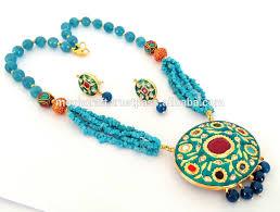 handmade long necklace images Mughal era style navratna handmade long jewelry party wear indian jpg