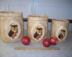 owl kitchen canisters owl canisters etsy