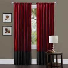 awesome redmet blackout curtain panels red black fabric vertical white glass drum table lamp round lacquered