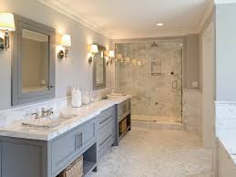 marble bathroom ideas gray vanity w open shelves marble shower counters