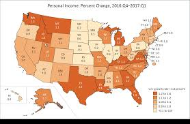 State By State Map Of Usa bea news release state personal income first quarter 2017