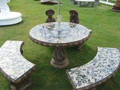 cement table and bench patio table set outdoor table set round 42 concrete table set