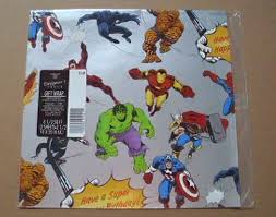 comic wrapping paper 1984 marvel comics hallmark birthday party gift wrap wrapping