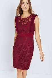 little mistress maroon lace bodycon dress with ruffle little