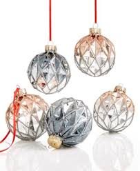 set of 5 glass ornaments created for macy s