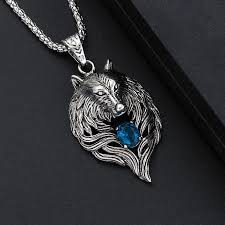 wholesale animal necklace images Wolf head necklace for men women pendant w chain biker cool jpg