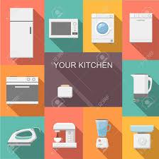 cuisine avec machine à laver ensemble d appareils de cuisine icônes plat avec une machine à laver
