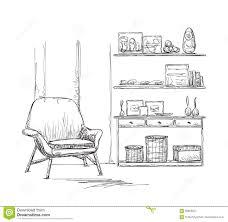 sketch room room interior sketch chair and cupboard stock vector image