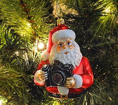 Glass Christmas Tree Ornament - photographer santa holding camera blown glass christmas ornament