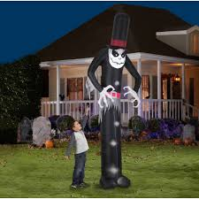 Halloween Inflatable Haunted House by Animated Grim Reaper W Spinning Clock Airblown Inflatable Giant