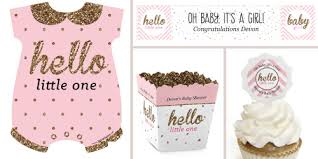 girl baby shower themes hello one pink and gold baby shower theme