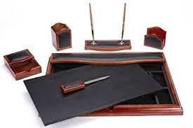 Wooden Desk Accessories Majestic Goods Desk Set Six Brown Oak Wood