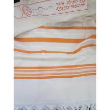 prayer shawls from israel buy orange and silver stripes wool tallit prayer shawl 59 x 74