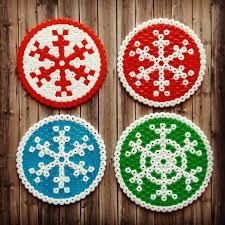 round snowflake christmas coaster perler hama beads