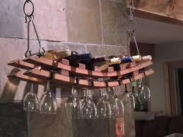 cork to barrel hanging wine bottle u0026 glass rack
