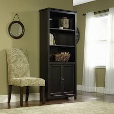 Storage Bookcase With Doors 3 Shelf Library Bookcase With Doors Estate Black Book Shelf