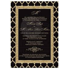 black and gold wedding invitations monogrammed wedding invitation black gold quatrefoil scroll