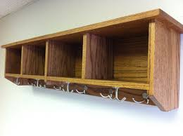 entryway shelf with cubbies and coat hooks handmade solid wood oak