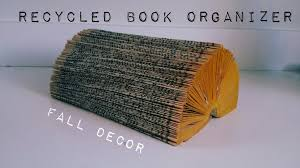 easy d i y upcycled book organizer log ideas for fall youtube