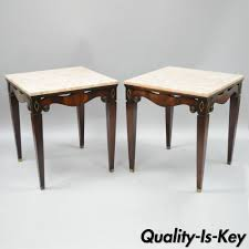 end tables and ls pair of antique pink marble top mahogany end tables regency square