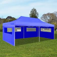Patio Tent Gazebo 10x20 Blue Outdoor Foldable Pop Up Garden Bbq Canopy Tent