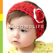 band baby baby girl headband white crochet knit flower band fba020