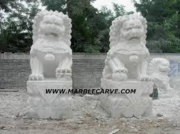foo dogs statues dogs marble statue carving cn0865