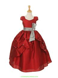 flower apple red silver poly dupiono pick up dress