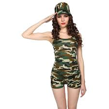 womens military commando 3pc army fancy dress soldier