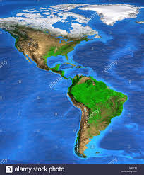 America North And South Map by Satellite Image Of North And South America Earth From Space Stock