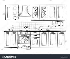 kitchen sketch paint home hand design stock vector 494639074
