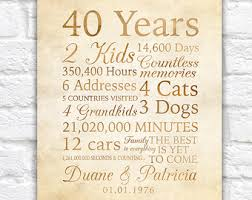 traditional 50th anniversary gift 40 year anniversary 40th anniversary gift for parents non