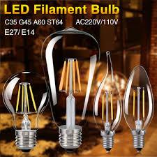 edison light bulb l e27 e14 4 16w cob led retro edison filament light bulb vintage g45