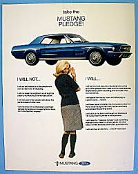 ford mustang ads 1967 ford mustang with the mustang pledge automobile car at