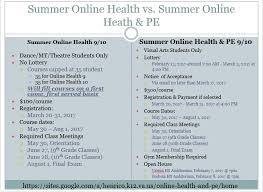online pe class high school henrico high school center for the arts online health and