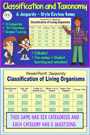 classification and taxonomy powerpoint jeopardy review game life