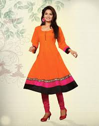 outstanding look orange color anarkali style cottonkurti cotton