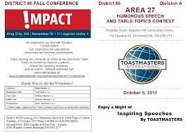 Table Topics Toastmasters District 86 Division A Area 27 Humorous Speech U0026 Table Topics