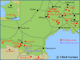 map of perpignan region rock climbing and bouldering in southwest including the