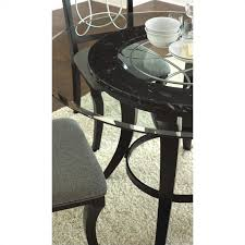 steve silver company cayman round dining table in black with glass
