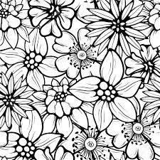 hand drawn floral wallpaper with set of different flowers could