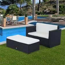 canap de jardin 2 places outsunny salon meuble de jardin en rotin tressé canapé 2 places avec