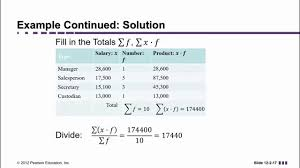 Frequency Distribution Table Mean Of Frequency Distribution Or Weighted Mean Youtube